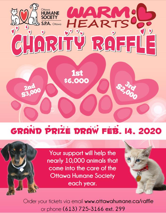 Warm Hearts Raffle - Ottawa Humane Society